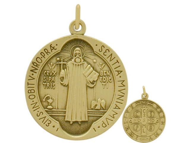 14 Karat Yellow Gold Religious Medal Medallion with Chain