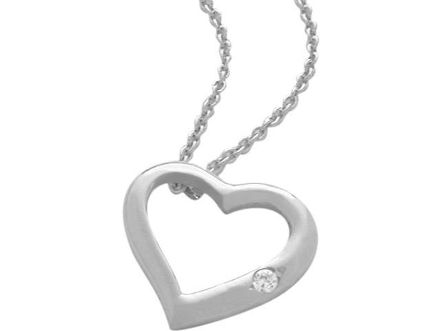 Sterling Silver Genuine White Topaz Heart Pendant with a chain