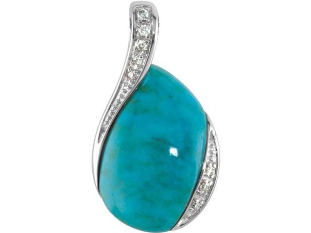 Sterling Silver Turquoise & Diamond Pendant with 18 chain