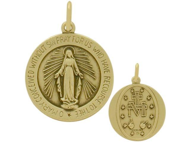 Yellow 14 Karat Gold Religious Mary Medal Medallion with Chain