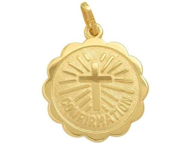 14 Karat Gold High Polish Religious Confirmation Medal Medallion with 14