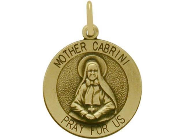14 Karat Yellow Religious Gold Mother Cabrini Medal Medallion with Chain