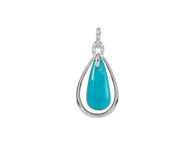 Sterling Silver Turquoise & Diamond Pendant with a chain