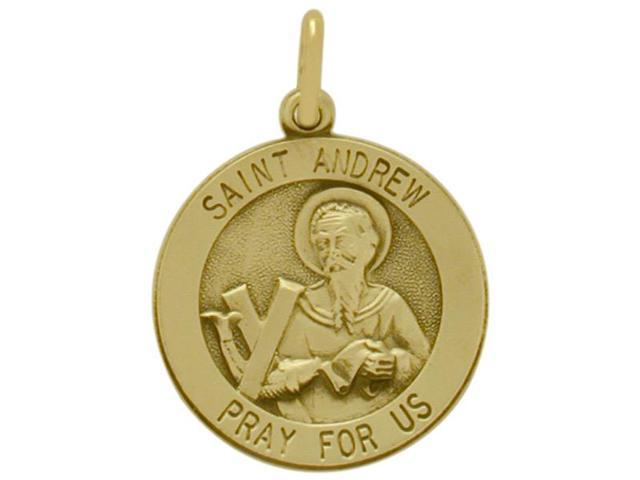 14 Karat Yellow Gold St. Andrew  Religious Medal Medallion with Chain