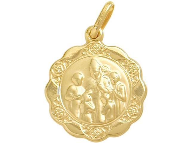 14 Karat Gold Inscribed Religious Confirmation Medal Medallion with Chain