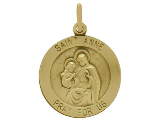 14 Karat Yellow Gold St. Anne Religious Medal Medallion