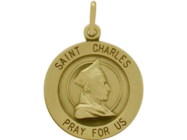 14 Karat Yellow Gold St. Charles Religious Medal Medallion with Chain