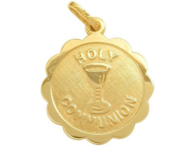 14 Karat Gold High Polish & Matte Holy Religious Communion Medal Medallion with Chain