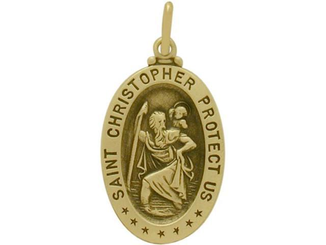 14 Karat Yellow Gold St. Christopher Medal Medallion with Chain