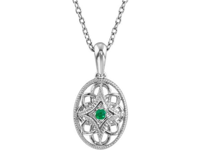 Genuine Sterling Silver Oval Emerald Pendant with a chain