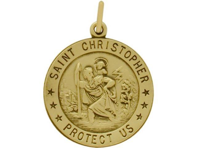 14 Karat Yellow Gold St. Christopher Religious Medal Medallion with Chain