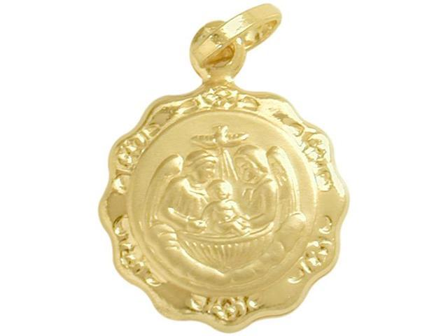 Large 14 Karat Gold Inscribed Religious Baptismal Medal Medallion with Chain