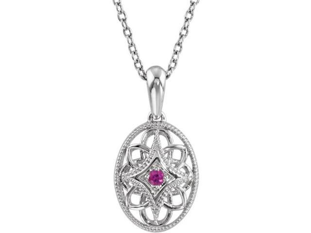 Genuine Sterling Silver Oval Ruby Pendant with a chain