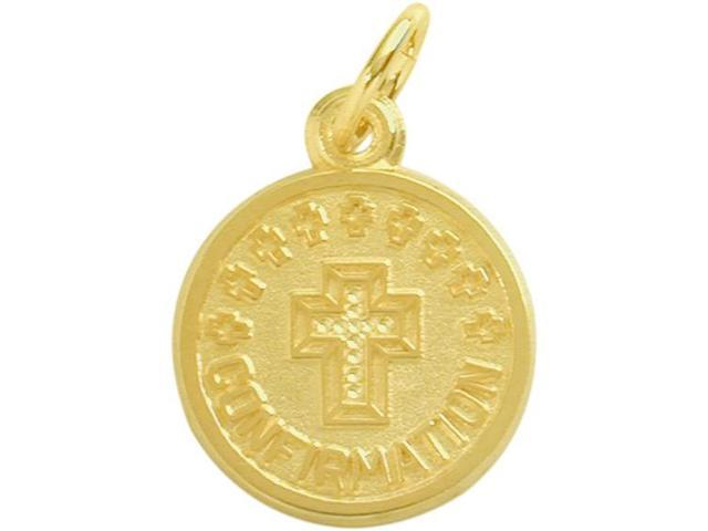 14 Karat Gold High Polish & Matte Religious Small Confirmation Medal Medallion with Chain
