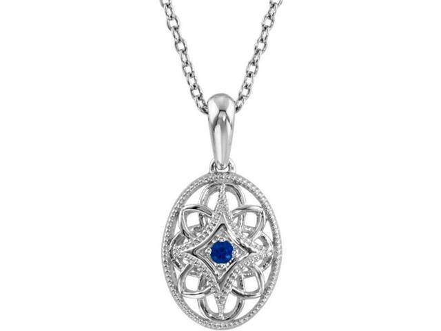Genuine Sterling Silver Oval Sapphire Pendant with a chain