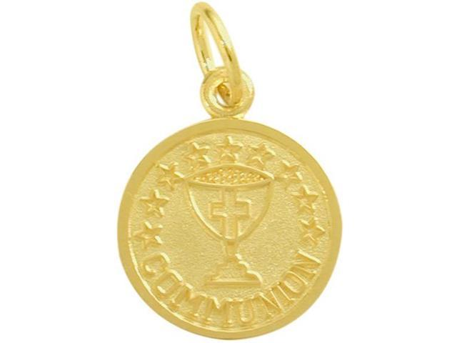 14 Karat Gold High Polish & Matte Religious Small Communion Medal Medallion with 14