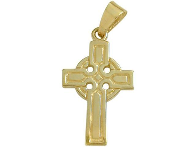 Large 14 Karat Yellow Gold Religious Celtic Cross with Chain