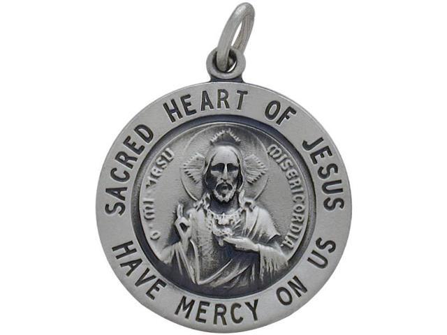 Sterling Silver Sacred Heart of Jesus Religious Medal Medallion with Chain