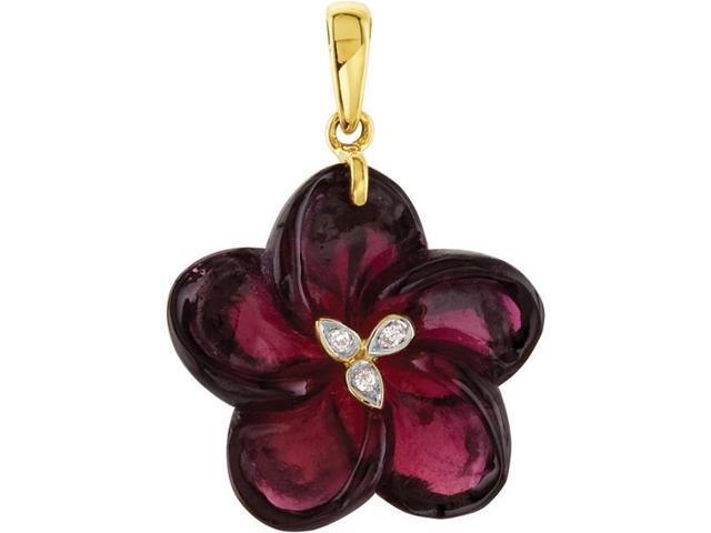 14 Karat Yellow Gold Gold Garnet & Diamond Floral Pendant