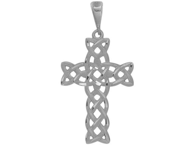 White Gold Detailed Religious Celtic Cross with a Chain