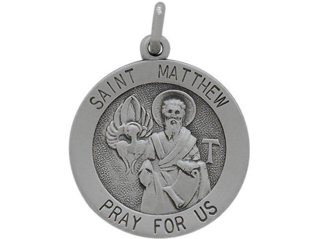 Sterling Silver Saint Matthew 18.5 Religious Medal Medallion with Chain