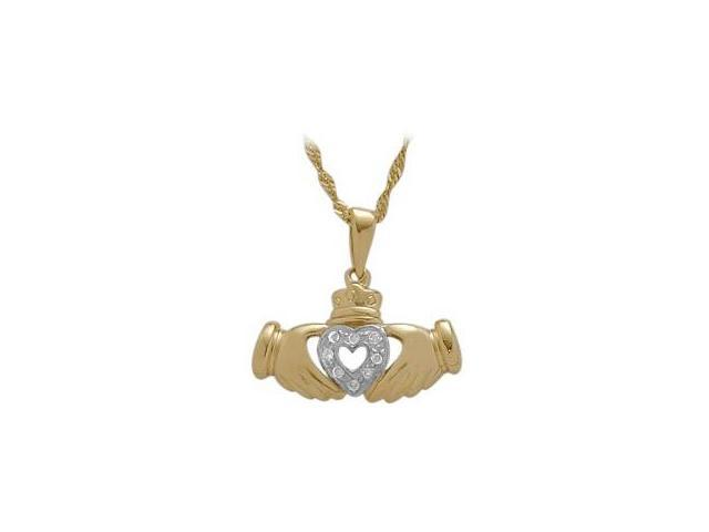 10 Karat Yellow Gold Diamond Claddagh Pendant