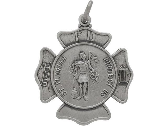Sterling Silver Saint Florian Religious Medal Medallion with Chain