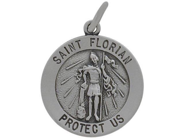 Sterling Silver Saint Florian 18.5mm Religious Medal Medallion with Chain