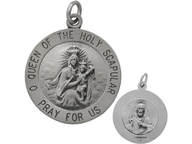 Sterling Silver Holy Scapular 18.5mm Religious Medal Medallion with Chain