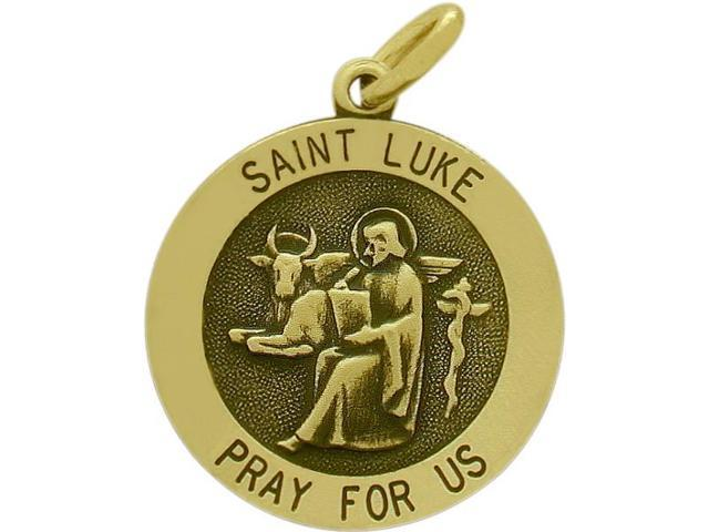 14 Karat Yellow Gold Saint Luke Religious Medal Medallion with a Chain