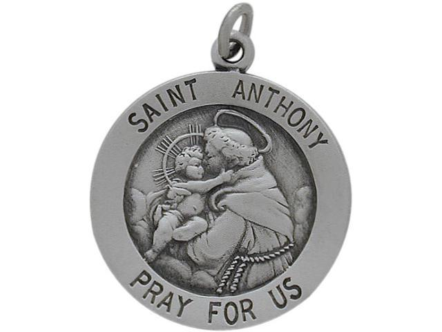 Sterling Silver Saint Anthony 18.5mm Religious Medal Medallion with Chain