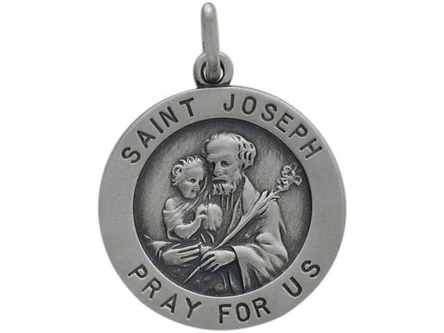 Sterling Silver Saint Joseph 18.5mm Religious Medal Medallion with Chain