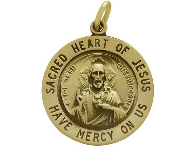 14 Karat Yellow Gold Sacred Heart of Jesus Religious Medal Medallion with a Chain