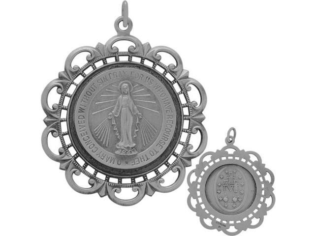 Large Sterling Silver Religious Mary Medal Medallion with chain