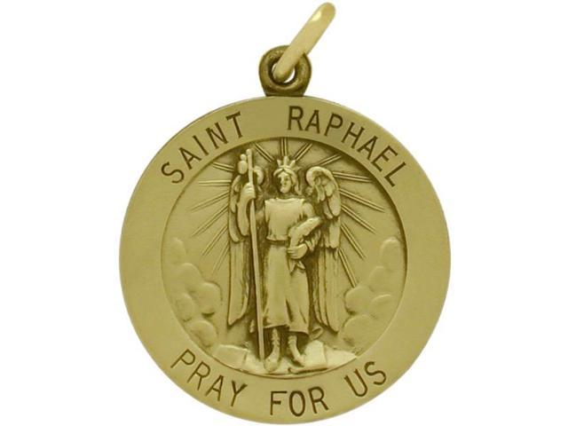 14 Karat Yellow Gold Saint Raphael Religious Medal Medallion with a Chain