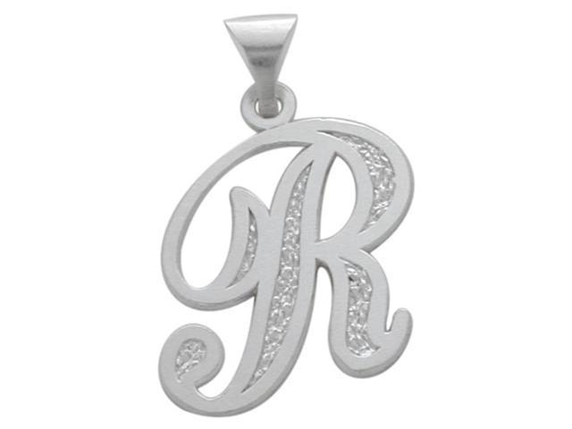 Sterling Silver Fancy Initial R Pendant with Chain