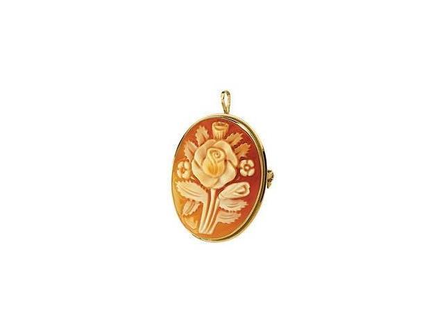 14 Karat Gold Carnelian Shell Brooch/Pendant with a chain
