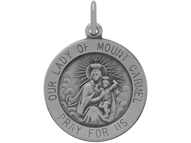 Sterling Silver Our Lady of Mount Carmel Medal Medallion with chain
