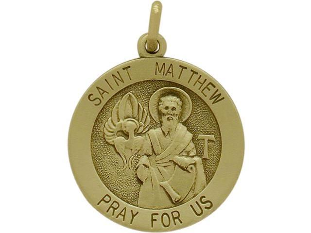 14 Karat Yellow Gold Saint Matthew Religious Medal Medallion with a Chain