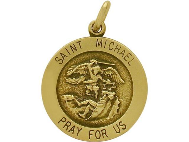 14 Karat Yellow Gold Saint Michael Religious Medal Medallion