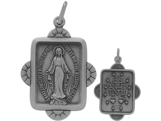 Genuine Sterling Silver Religious Mary Medal Medallion with chain