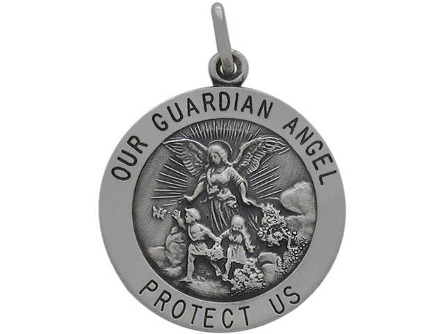 Sterling Silver Our Guardian Angel 22mm Religious Medal Medallion