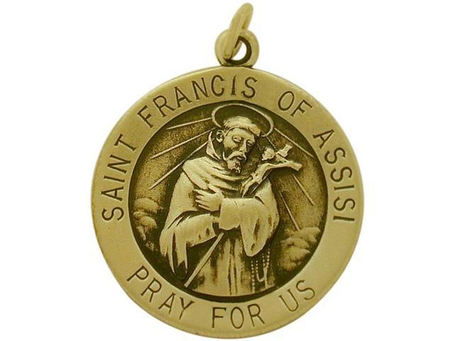 14 Karat Yellow Gold St. Francis of Assisi Religious Medal Medallion with a Chain