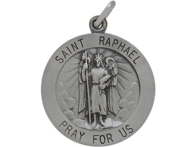 Sterling Silver Saint Raphael 22mm Religious Medal Medallion with Chain