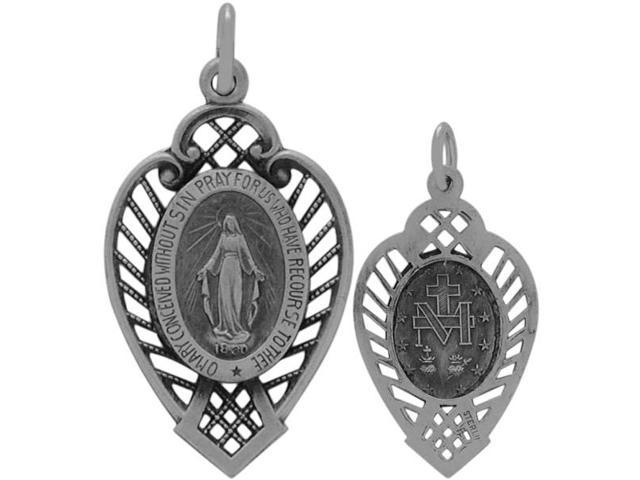 Sterling Silver Detailed Relgious Mary Medal Medallion with chain