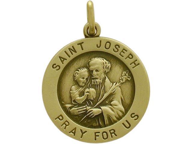 14 Karat Yellow Gold Saint Joseph Religious Medal Medallion with a Chain