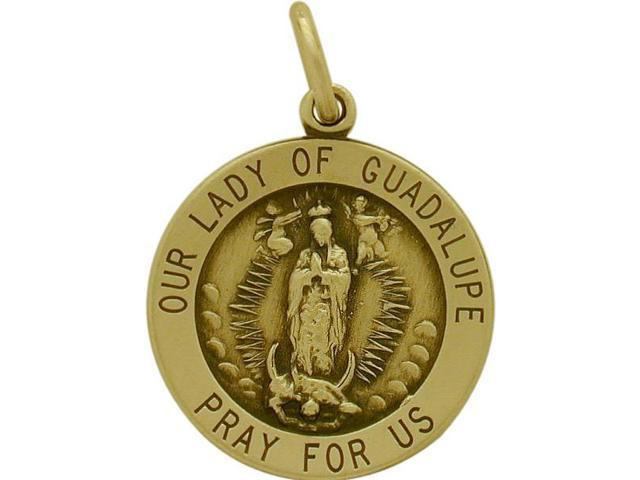 14 Karat Yellow Gold Our Lady Of Guadalupe Religious Medal Medallion with a Chain