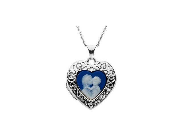 Genuine Sterling Silver Heart Cameo Locket with a chain