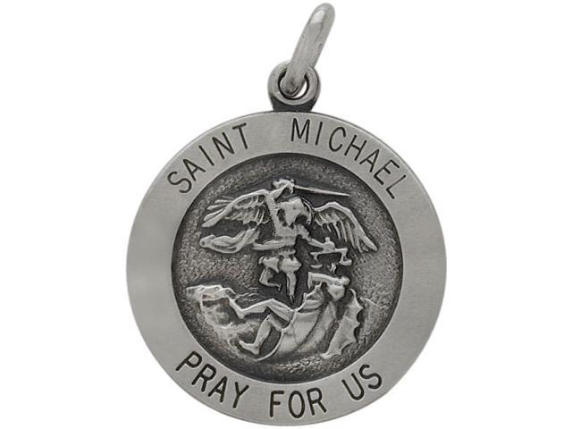 Sterling Silver Saint Michael 18.5mm Religious Medal Medallion with Chain
