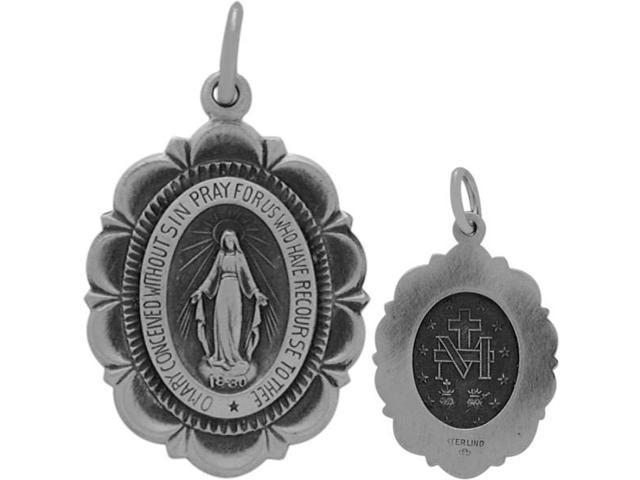 Genuine Religious Sterling Silver Mary Medal Medallion with chain